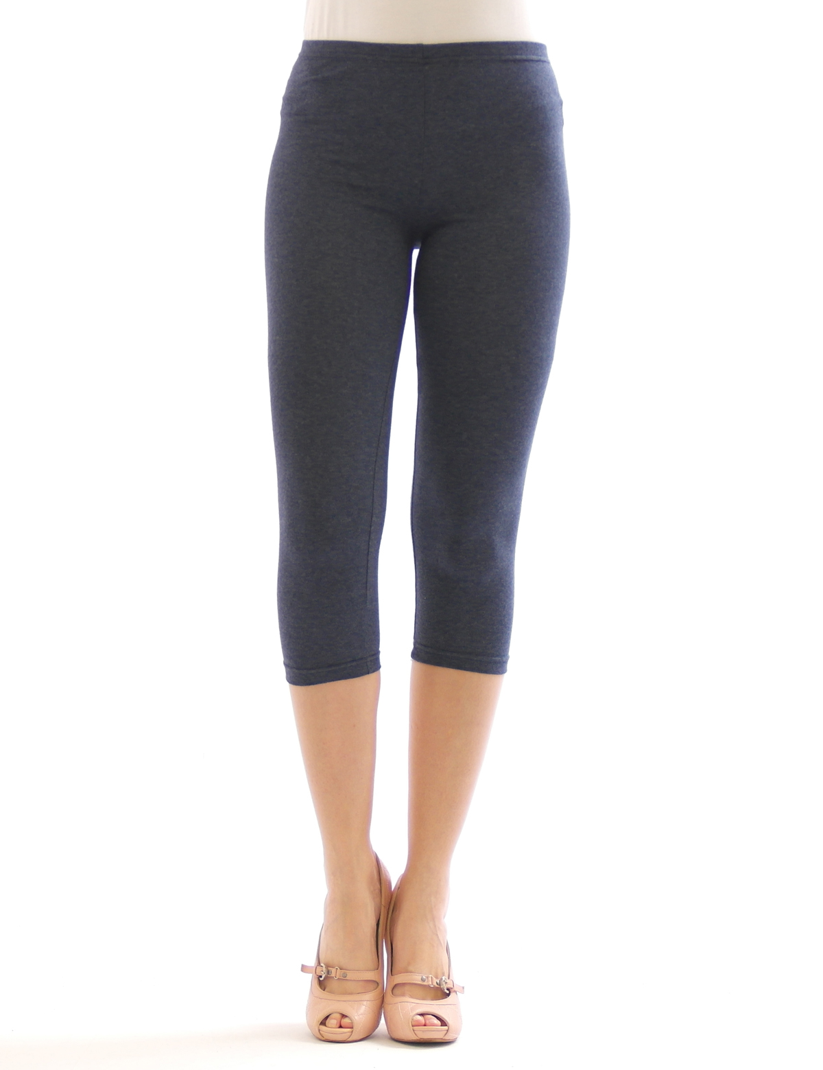 damen 3 4 capri leggings leggins kurze knie hose baumwolle ebay. Black Bedroom Furniture Sets. Home Design Ideas