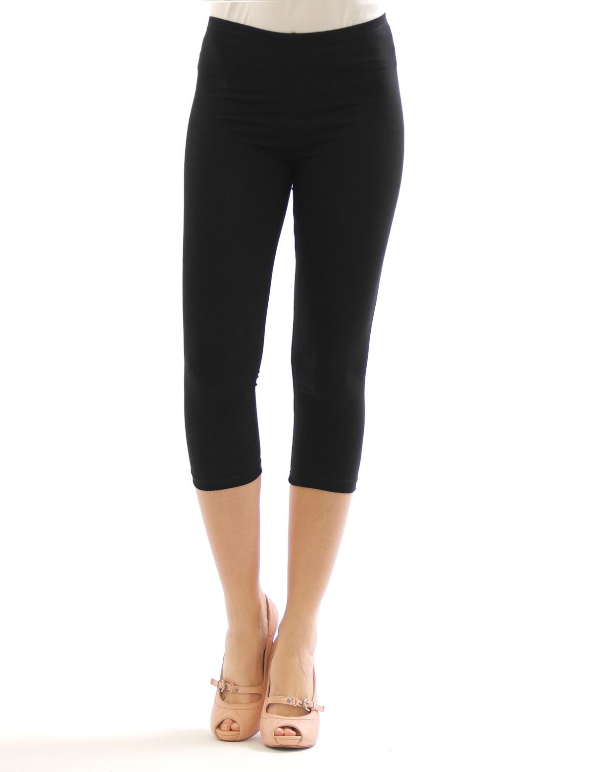 damen 3 4 capri leggings leggins kurze knie hose baumwolle ebay. Black Bedroom Furniture Sets. Home Design Ideas