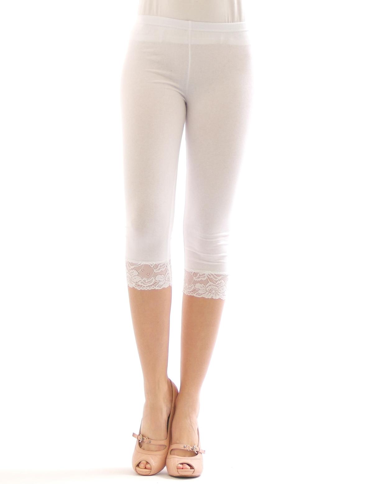 capri 3 4 leggings spitze leggins hauteng baumwolle damen. Black Bedroom Furniture Sets. Home Design Ideas